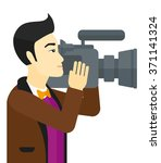 cameraman with video camera. | Shutterstock .eps vector #371141324