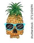 pineapple skull print skull... | Shutterstock .eps vector #371143694
