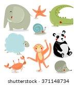 vector set of cartoon animals....   Shutterstock .eps vector #371148734