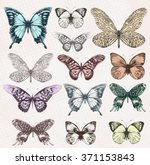 Stock vector colorful vintage butterflies vector eps 371153843