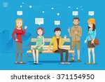discussion of a large group in... | Shutterstock .eps vector #371154950