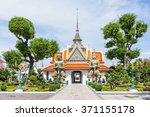 thai temple at wat arun and... | Shutterstock . vector #371155178