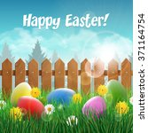 easter card with easter eggs on ... | Shutterstock .eps vector #371164754
