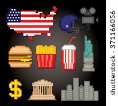 usa culture symbols icons set.... | Shutterstock .eps vector #371166056