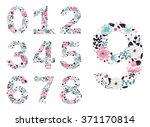 floral numbers. vector isolated ... | Shutterstock .eps vector #371170814