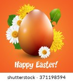 orange easter egg with spring... | Shutterstock .eps vector #371198594
