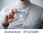 hand holding business card with ... | Shutterstock . vector #371221684