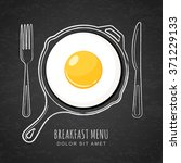 fried egg and hand drawn... | Shutterstock .eps vector #371229133