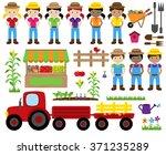 cute vector collection of farm... | Shutterstock .eps vector #371235289