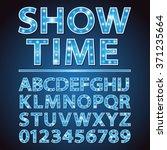 vector blue neon lamp letters... | Shutterstock .eps vector #371235664