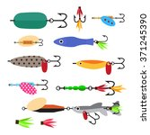 fishing tools and hook set.  | Shutterstock .eps vector #371245390