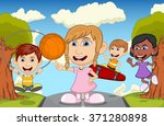 children play basketball ... | Shutterstock . vector #371280898