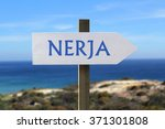 nerja sign with seashore in the ... | Shutterstock . vector #371301808