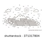 linear sun electric station ... | Shutterstock .eps vector #371317804