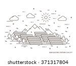 linear sun electric station ... | Shutterstock .eps vector #371317804