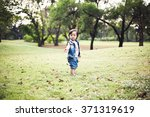 baby girl with jean dress... | Shutterstock . vector #371319619