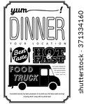 food truck poster typography... | Shutterstock .eps vector #371334160