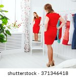 young woman in a red dress... | Shutterstock . vector #371346418