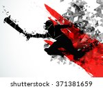 silhouette of a running player... | Shutterstock .eps vector #371381659