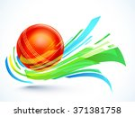 glossy red ball with abstract... | Shutterstock .eps vector #371381758