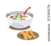a bowl of porridge with pork  ... | Shutterstock .eps vector #371393176