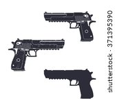 Powerful Pistol  Gun Silhouett...