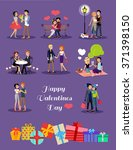 happy valentine day couple... | Shutterstock .eps vector #371398150