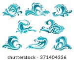 Decorative Blue Sea Waves And...