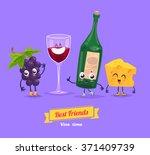 healthy breakfast. funny... | Shutterstock .eps vector #371409739