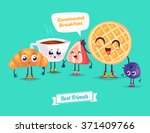 healthy breakfast. funny... | Shutterstock .eps vector #371409766