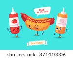 healthy breakfast. funny... | Shutterstock .eps vector #371410006