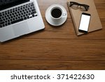 office desk table with computer ... | Shutterstock . vector #371422630