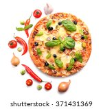Delicious Fresh Pizza Isolated...