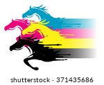 Stock vector fast printing concept four running horses in the print colors concept for presenting of color 371435686