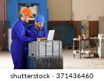 engineer and foreman in factory. | Shutterstock . vector #371436460