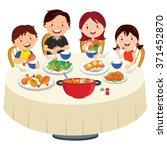 family eating dinner. family... | Shutterstock .eps vector #371452870
