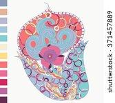 henna floral tattoo design ... | Shutterstock .eps vector #371457889