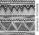 black and white tribal Navajo vector seamless pattern with doodle elements. aztec abstract geometric art print. ethnic hipster backdrop. Wallpaper, cloth design, fabric, paper, textile. Hand drawn | Shutterstock vector #371465638