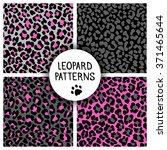 set of leopard skin print... | Shutterstock .eps vector #371465644