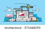 computer with statistics on the ... | Shutterstock .eps vector #371468293