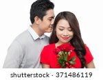 man giving bouquet girl....   Shutterstock . vector #371486119