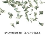 One hundred US dollar bills are falling on white background. Great use for money and finance related concepts. Isolated on white background. Clipping path is included.