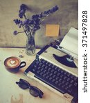 coffee and typewriter vintage... | Shutterstock . vector #371497828