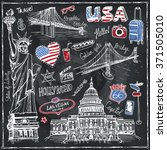 usa doodle set.american travel... | Shutterstock .eps vector #371505010