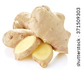 fresh ginger on white bakground ... | Shutterstock . vector #371509303