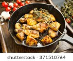 roasted chicken legs with baked ...   Shutterstock . vector #371510764