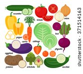 set of vegetables  whole and...   Shutterstock .eps vector #371514163