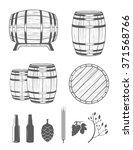 vector set of barrels and...   Shutterstock .eps vector #371568766