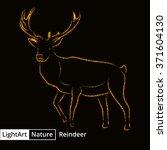 reindeer silhouette of gold... | Shutterstock .eps vector #371604130