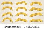 ribbon banner set.golden... | Shutterstock .eps vector #371609818